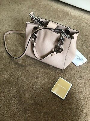 b71b4c54bd5b Michael Kors Cynthia Small N/S Chain Satchel in Leather Pale Pink Gold  Hardware