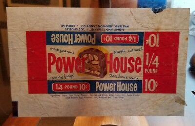 VINTAGE CANDY BAR Wrapper - Powerhouse 10c Bishop Candy Co  Walter Johnson  Candy