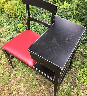 Vintage Antique Telephone Chair  /Table , Shabby Chic Distressed Paint