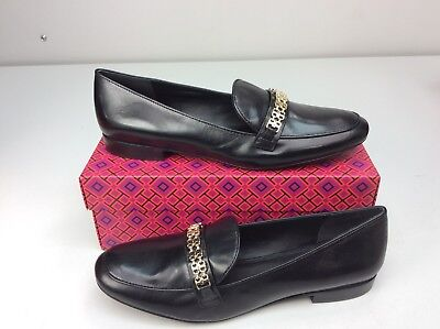 ee18cad04cf921 Tory Burch Gemini Link Black Leather Loafer Size 10.5 Slip On Women s Shoe