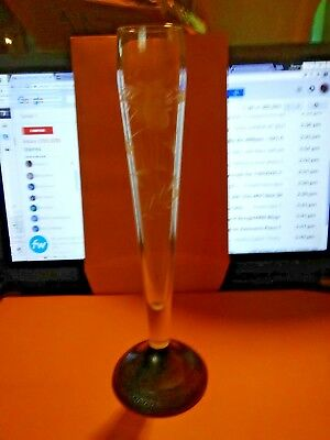 Etched Glass Sterling Silver Duchin Creation Weighted Base Bud Vase