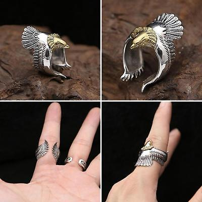 Silver Plated Flying Eagle Biker Ring Cool Punk Men's Animal Vintage Open Ring J