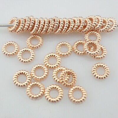 200/1500pcs Tibetan Rose Gold 4mm Small Ring Charms Spacer Beads Jewelry Making