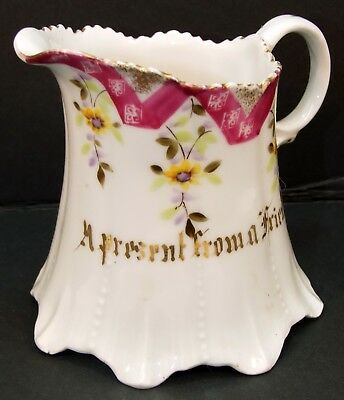Antique Mosanic China Decorative Creamer Lettered A Present From A Friend
