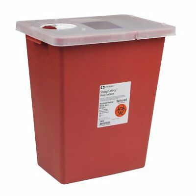 SharpSafety Multi-purpose Sharps Container 8 Gallon Red Base Hinged Lid -10/Case