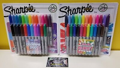 Sharpie 24 Limited Fine Point Permanent Markers- Electro Pop or Color Burst