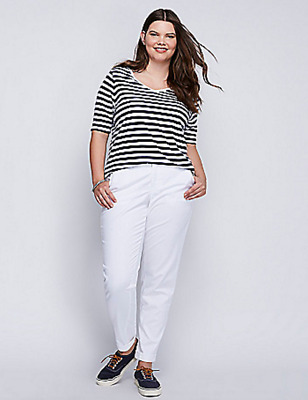 aedbc79dd992e Lane Bryant Boyfriend Chino Pants Womens Plus 22 24 28 White Low Rise