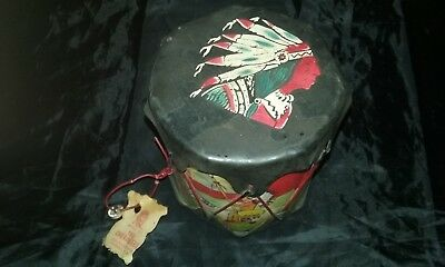 Vintage w Tags Excellent Cherokee Indian Drum QUALLA RESERVATION CHEROKEE N.C.
