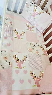 Brand New Baby Girl Patchwork Cot quilt + toddler pillowcase - Floral + Deer