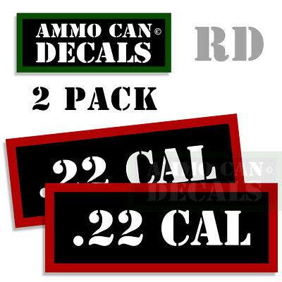 22 CAL Ammo Can Stickers 22 Caliber Ammunition Gun Case Labels Decals 2 pack RED