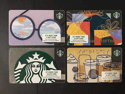 (4) New 2018 Starbucks gift cards, Sunglasses,Happy Bday, Braille, sparkle Siren