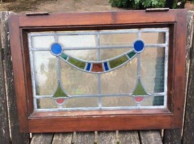 Vintage Reclaimed Leaded Stained Glass Window Arts & Crafts Art Nouveau