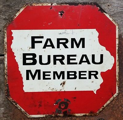 VINTAGE Two-Sided Metal Iowa IA Farm Bureau Member Stop Sign SHIPPING INCLUDED