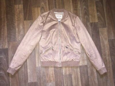 Ladies Size 8 River Island Beige/Brown/Camel Suede Bomber Jacket