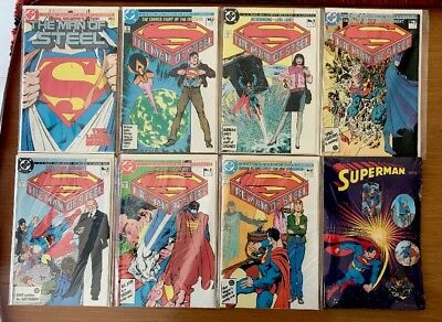 SUPERMAN: MAN OF STEEL 1-6 (1986) Incl Special Edition #1 + Superman Badge Set