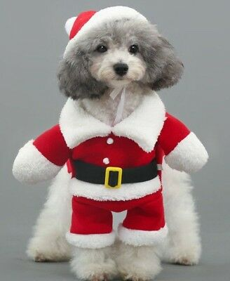 Christmas Santa Claus Pet/Dog/Cat Costume/Outfit/Clothes with Xmas Hat