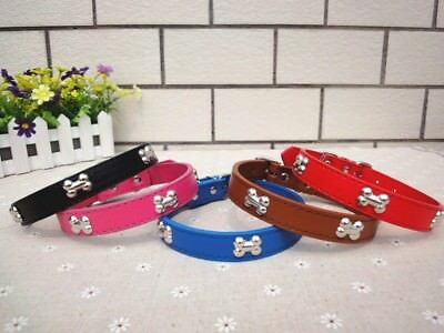 Adjustable Pet/Dog/Cat Leather Style Collar with Bone Shaped Studs -- oztots