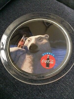 Vintage Always Coca-Cola 13 Inch Glass Collectible Polar Bear Platter