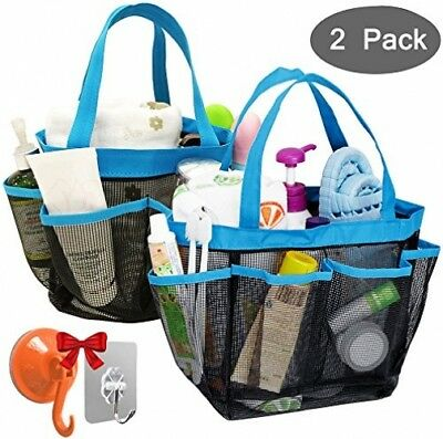 YuCool 2 Pack Portable Mesh Shower Caddy With 8 Storage Pockets, Hanging Tote 2