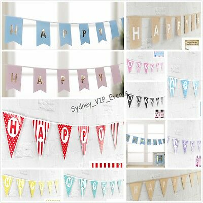 HAPPY BIRTHDAY BUNTING FLAGS BANNER HANGING PARTY DECORATIONS 4.8m 13 STYLES