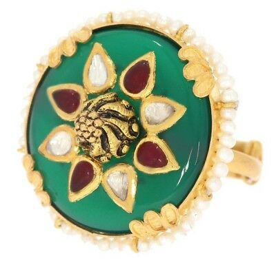 Green  Onyx Ring With Uncut Diamond & Ruby 22k  Gold Engraving Antique jewelery
