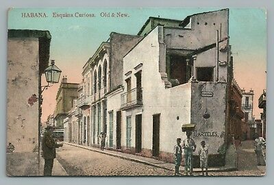"Havana ""Esquina Curiosa—Old & New"" CUBA Habana—Rare Antique POSTED 1913"