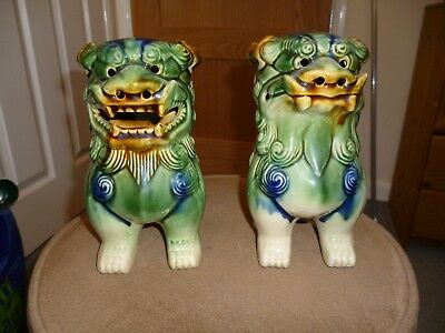 Vintage pair of Chinese green ceramic Dogs of Foo/Lion dogs - Approx 19 cms tall