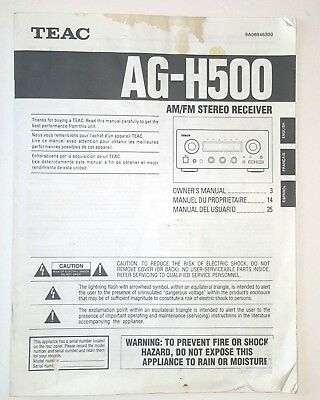 TEAC AG-H500 AM/FM Stereo Receiver Owner's Manual Free Shipping