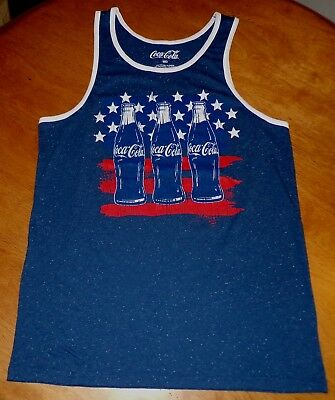 Men's Coca Cola blue, red, and white cotton blend Tank Top   (Medium)    NWT