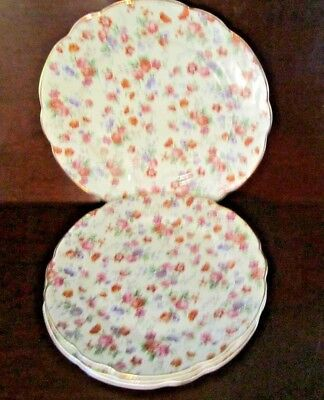 """Cheery Chintz Plates Germany - Lot of 3 9"""" and 1 10"""" plates"""