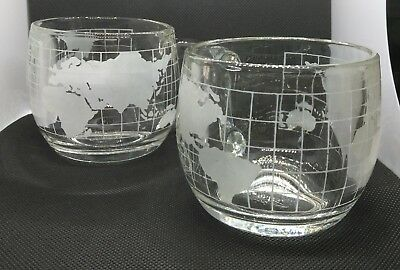 Nestle Nescafe World Globe Frosted Mugs, Set of 2, Vintage, 1970's, 8 Ounces