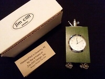 JIM CLIFT Quartz Clock with Pewter Watering Can & Flower Feet - 2002 - w/ Box