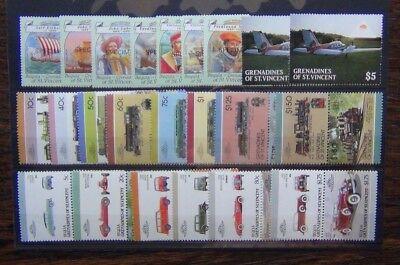 Grenadines of St Vincent 1986 Cars 1987 Railway 1988 Explorers sets MNH