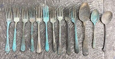 Antique Silver Plate Flatware Lot Of 13 Forks Spoons