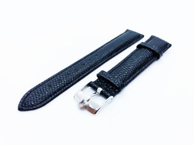 Black Genuine Leather Lizard Strap Band fit OMEGA watch 18 19 20mm Buckle Clasp