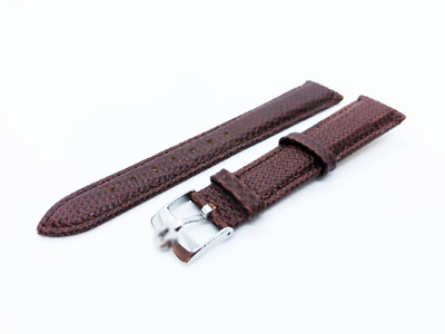 Brown Genuine Leather Lizard Strap Band fit OMEGA watch 18 19 20mm Buckle Clasp
