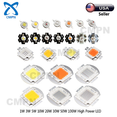 1W 3W 5W 10W 20W 30W 50W 100W Warm White Red Blue RGB UV High Power SMD LED Chip