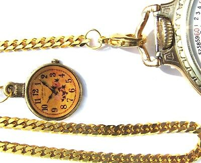 Gold Plated Pocket Watch Chain With Clock Fb, Spring Ring Clasp & Swivel Hook