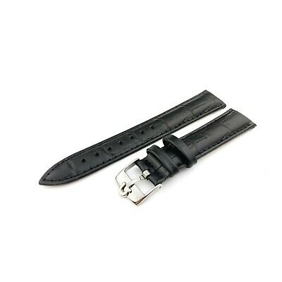Black Genuine Leather Croco Strap Band fit OMEGA watch 18 19 20mm Buckle Clasp