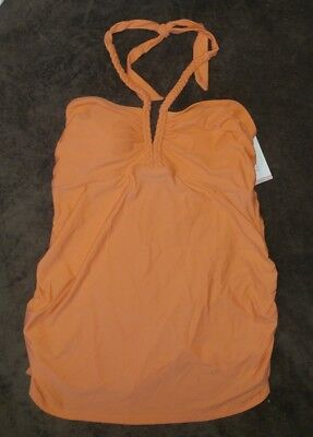 Liz Lange maternity tankini top sz lg Camellia color NWT braided ties nylon blnd