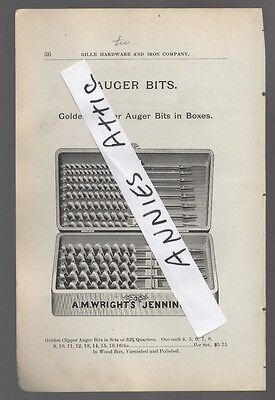 1898  ad advertising A.M. WRIGHT'S JENNINGS Golden Clipper AUGER BIT in wood box