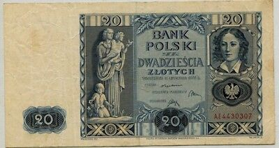 .Paper Money Poland 1936 20 zlotych AE4430307