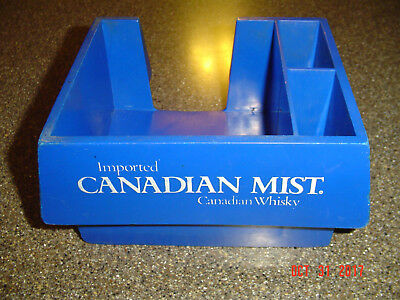 Vintage IMPORTED CANADIAN MIST WHISKY Blue Bar Rail Caddy Napkin Straw Holder