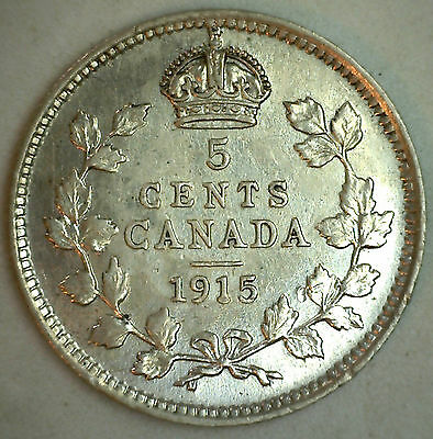 1915 Canadian Silver 5 Cents Coin Five George V Canada Type Coin Extra Fine XF
