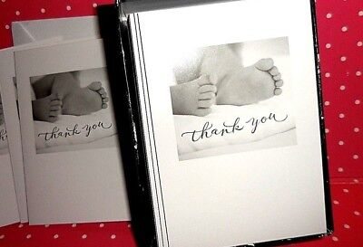CARLTON Cards BABY SHOWER Baby Feet  Thank You Notes  Set of 50 w/ Envelopes
