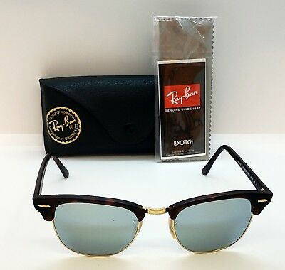 Authentic Ray-Ban Rb 3016 1145 30 Clubmaster Tortoise green Flash Lenses 24b14e8732