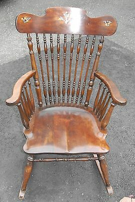 Antique Rocking Chair with Inlay NEEDS REPAIR Hand Turned Spindles Solid Seat