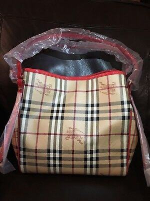 bc230e85980 NWOT Burberry Haymarket Small Canterbury Tote, Factory Wrapped, MSRP $1095
