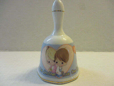 """Precious Moments Bell """"Love One Another"""" Porcelain (2000)  MINT Preowned"""