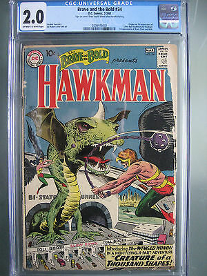 Brave and the Bold #34 CGC 2.0 OWW **1st Hawkman (Silver Age)** DC Comics 1961